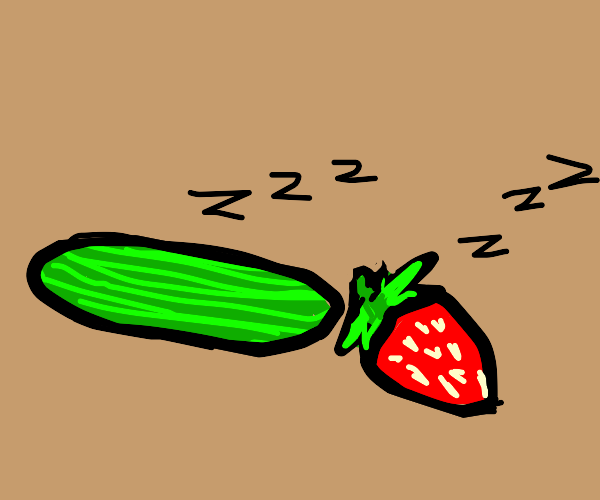 cucumber and strawberry sleeping