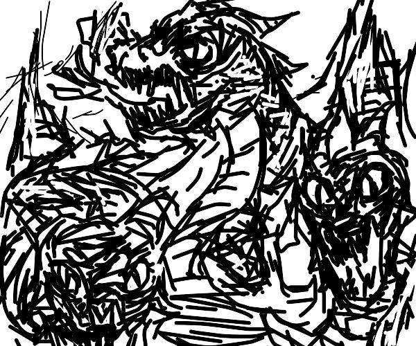 Three headed dragon destroying city