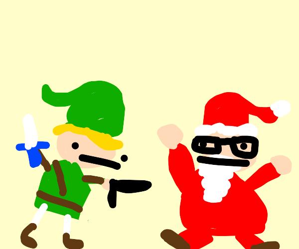 link shoots santa