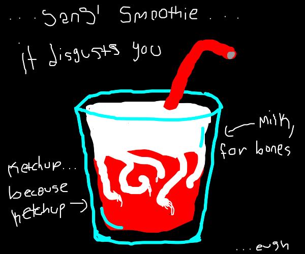 ketchup n milk in a cup drank through a straw