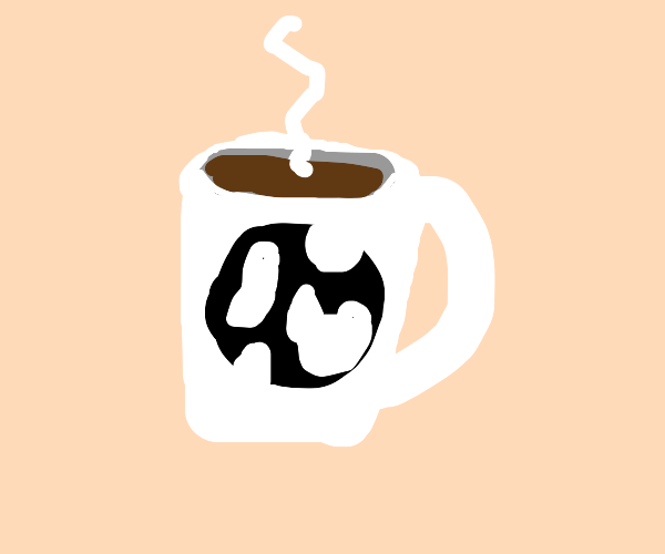 coffee mug with black and white earth in it