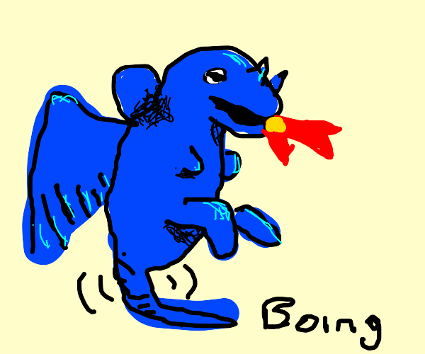 Dragon using tail as pogo stick