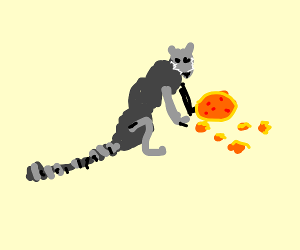 Ring-tail lemur loves pizza and chickn nuggts