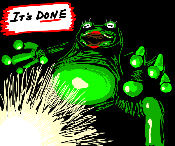 Shrexy glob of frog finishes something...