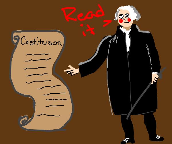 Geog wisingtin asks u to read his costituson