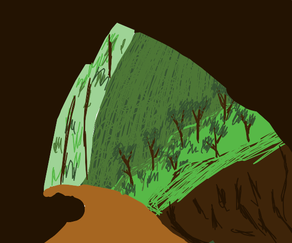 Detailed cave exit into forest