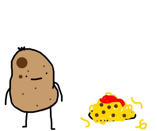 Potato looks at spaghetti