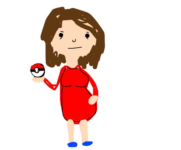 Pregnant woman holding a pokeball
