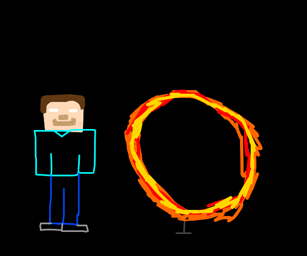 white-eyed man in front of ring of flames