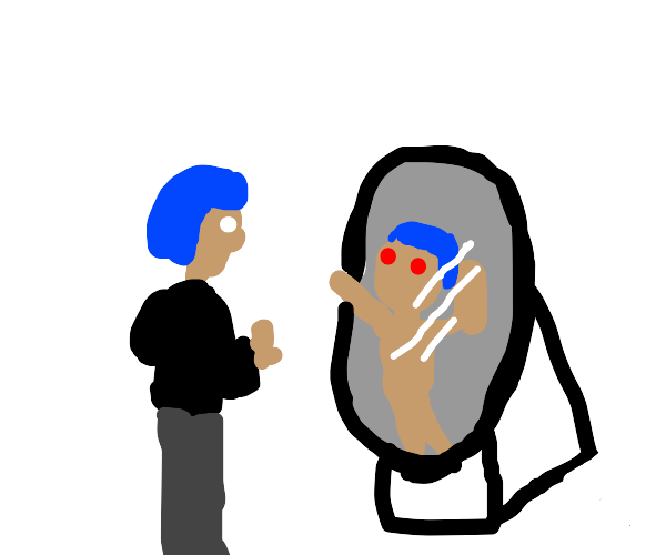 Blue haired woman looks into possesed mirror