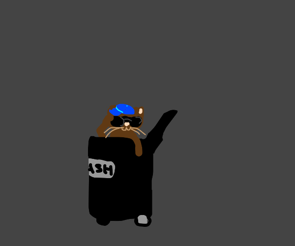 cat with blue cap stalking from garbage can