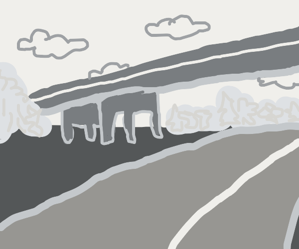 An overpass in grayscale.