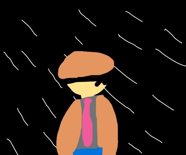 Sad vibrant man in the rain