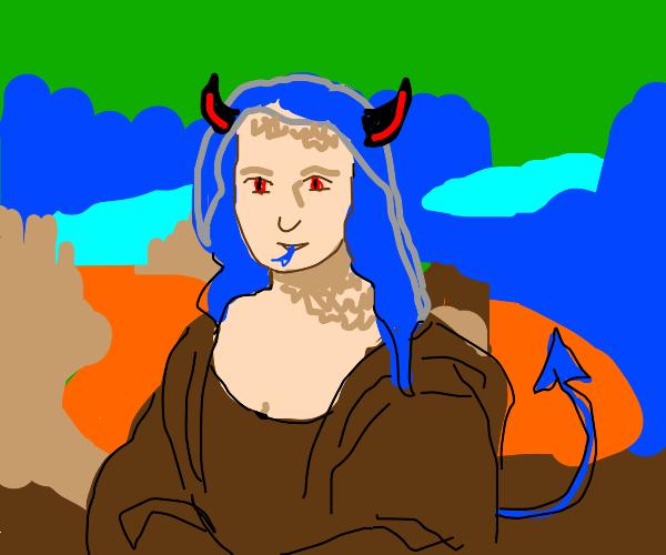 Blue haired Demon Mona Lisa