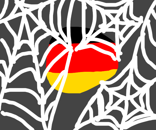 german flag ball with spider webs