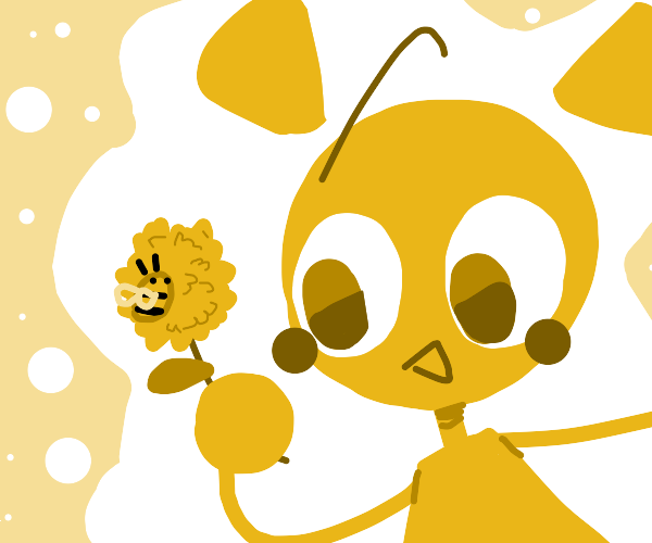 girl holding flower with a bee on it