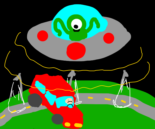 UFO abducting a car