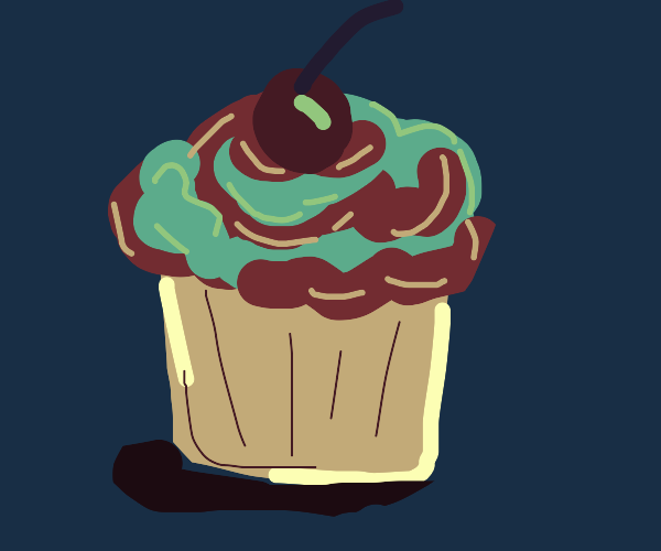 Cotton candy cupcake with a cherry on top