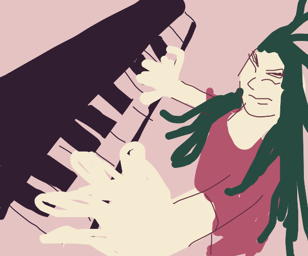 green haired woman rocks out on piano