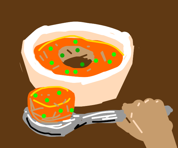 ... Eating solid soup..