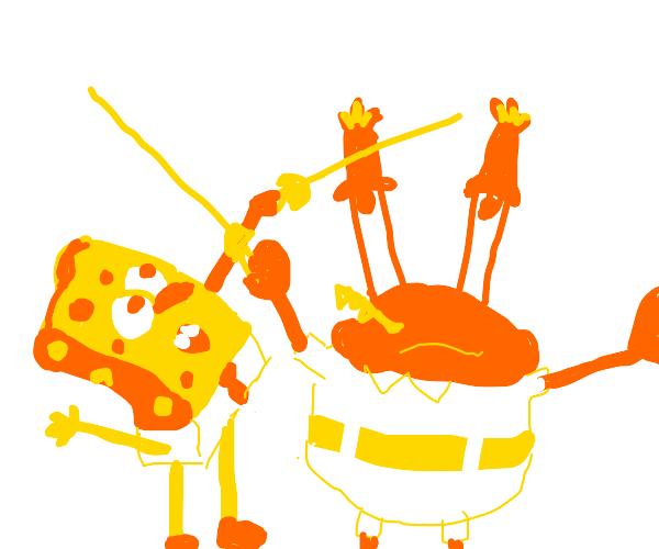 Spongebob and Mr. Krabs have a fencing match