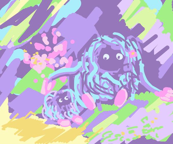 tangrowth pets Tangela on his head