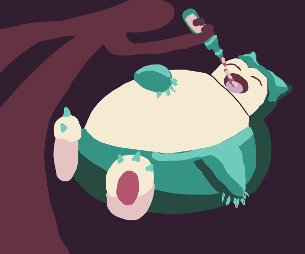 Man gives snorlax a drink