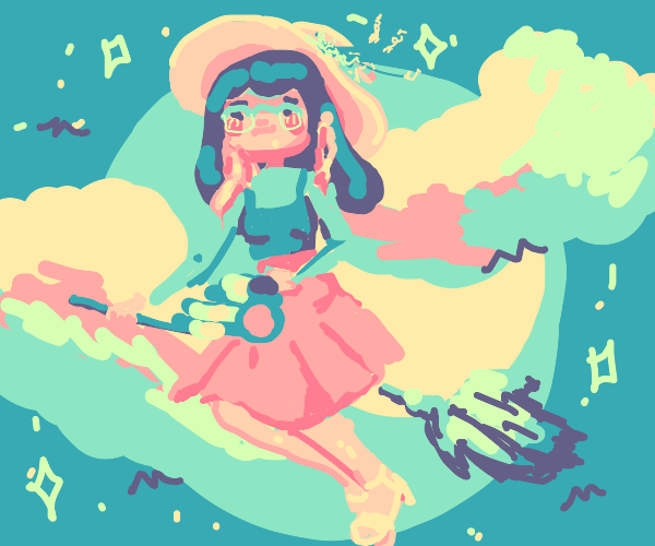 Cute witch riding on a broomstick