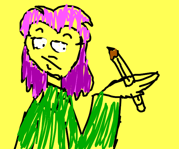 anime girl with pencil stabbed into hand