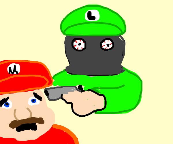 masked luigi is gonna shoot mario