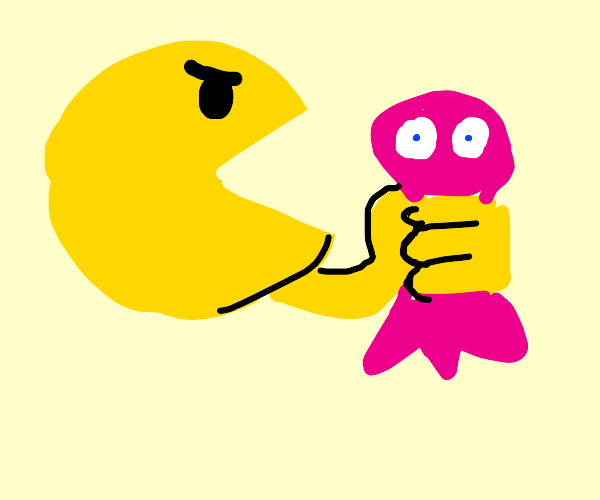 pac-man grows arms and grabs ghost