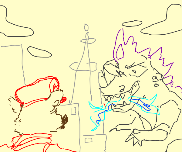 Giant child of mario and alvin fight Godzilla