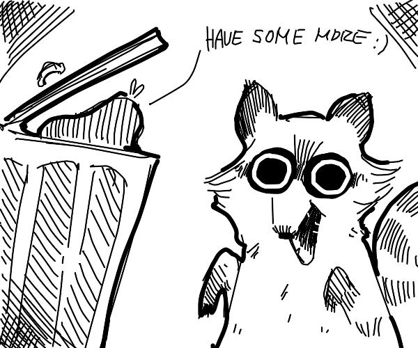 trash can emotionally comforts raccoon