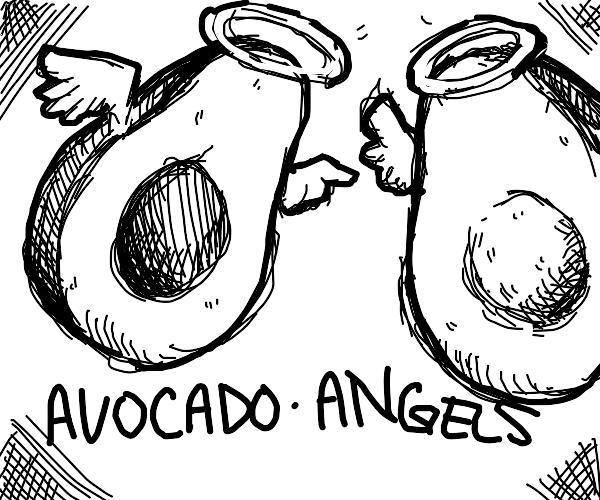 2 flying avocado-angels