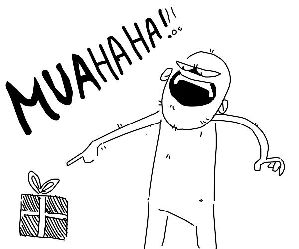 Bald man evil laughs at a present