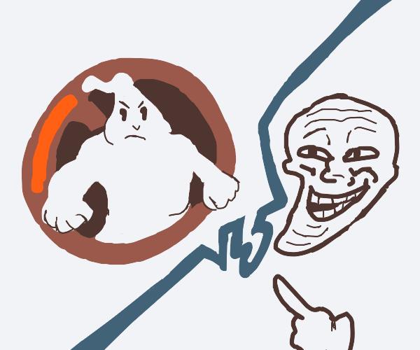 Ghost buster logo vs trollface