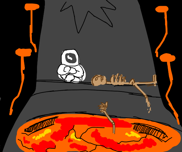 Trapped in a volcano next to a skeleton