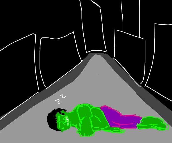 The incredible hulk falls asleep