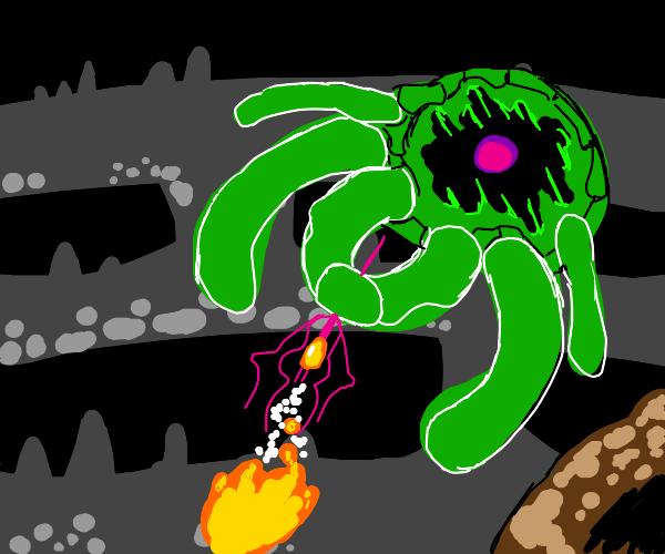 a giant green mutant tarantula attacks!