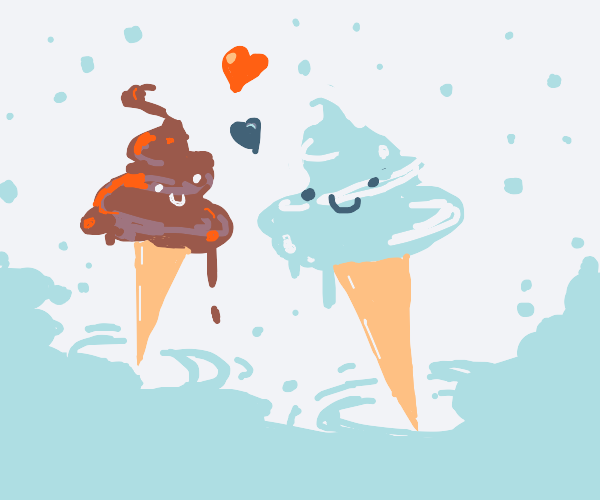 two drowning ice creams kissing