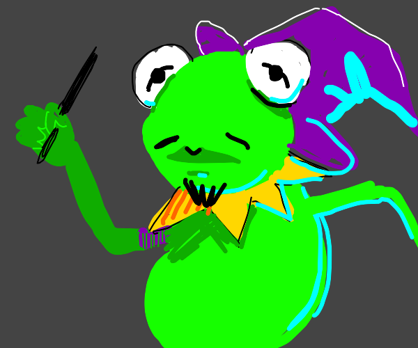 Kermit the frog as a wizard