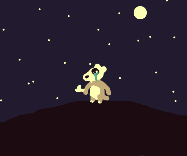 Cubone cries at the starry sky