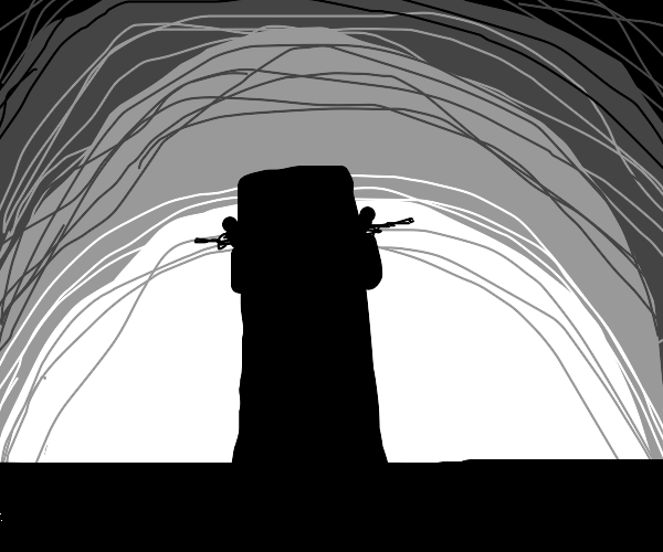 Guard tower, silhouetted by a cloudy sky.