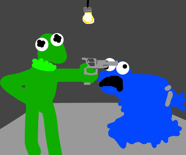 Cookie Monster gets executed by Kermit