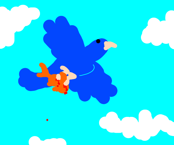 Bluebird holds goldfish in talons while flyin