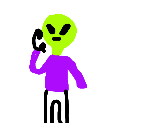 alien on the phone
