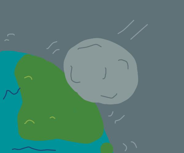 The moon bumps into Earth