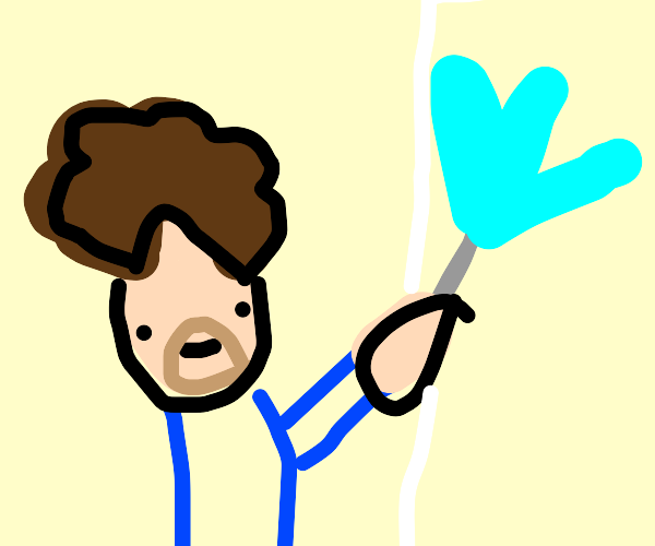 Bob Ross painting w a big paintbrush in blue