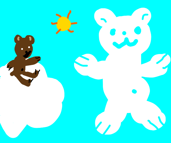 Bear sitting on cloud sees bear shaped cloud