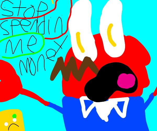 Mr Krabs angry cause spongebob spends money